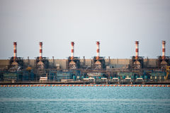View of big oil refinery on a sky background Royalty Free Stock Photos
