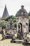 View of the big and small tombs of the cemetery of Belen. In Guadalajara Mexico on a magical and mysterious day, copy space, travel, halloween concept stock image