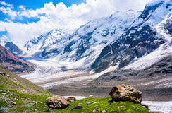 View at the big snowy mountains in Caucasus Royalty Free Stock Photography