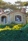 VIew of the big stone house with large windows Royalty Free Stock Photo