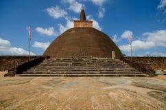 View of big Stupa the Abhayagiri Dagaba in Sri Lanka. Abhayagiri Vihāra was a major monastery site of Mahayana and Theravada Buddhism that was situated in Stock Images