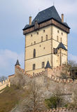 View of the Big Tower of castle Karlstejn Stock Photography