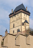 View of the Big Tower of castle Karlstejn Royalty Free Stock Photography