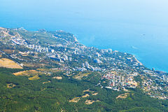 View of Big Yalta city on South coast of Crimea Royalty Free Stock Image