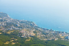 View of Big Yalta city on Southern coast of Crimea Stock Images
