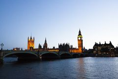 bigben clock with building over the them river stock photo