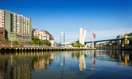 View of Bilbao. Embankment of   Nervion river Royalty Free Stock Photos
