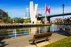 View of Bilbao.  La Salve Bridge Stock Image