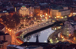 View of Bilbao at Twilight Stock Images