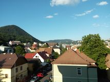 View of bildings and the mountains of brasov in the morning Royalty Free Stock Photo