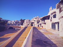 View of Binibeca Vell on Minorca. View of Whitewashed Houses in Binibeca Vell on Menorca, Balearic Islands, Spain Stock Photo