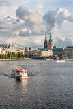 View of the Binnenalster lake and the center of Hamburg Stock Photo