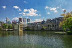 View of the Binnenhof and buildings in the Art Nouveau center of Royalty Free Stock Image