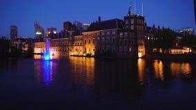 Binnenhof - Dutch Parliament, Holland. View of Binnenhof - Dutch Parliament at night over Hofvijver pond at night, Hague Holland stock footage