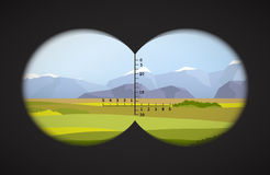View from binoculars on landscape with fields. And mountains Royalty Free Stock Photo