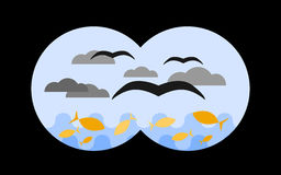 View through binoculars to the sea. Vector illustration in childish cartoon style Stock Photo