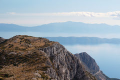 View from Biokovo mountain to Croatian islands and the Adriatic sea Stock Photo