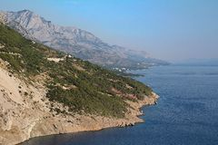 View of Biokovo mountains in Croatia. Biokovo mountains, Croatia. View of adriatic sea coast stock photo