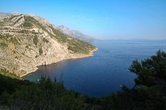 View of Biokovo mountains in Croatia. Biokovo mountains, Croatia. View of adriatic sea coast royalty free stock photos