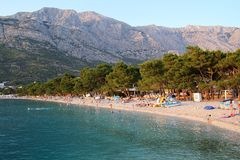 View of Biokovo mountains in Croatia. Biokovo mountains, Croatia. View of adriatic sea coast Stock Photos