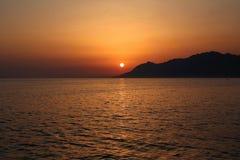 View of Biokovo mountains in Croatia. Biokovo mountains, Croatia. View of adriatic sea coast and sun set Stock Images