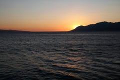 View of Biokovo mountains in Croatia. Biokovo mountains, Croatia. View of adriatic sea coast and sunset Royalty Free Stock Images