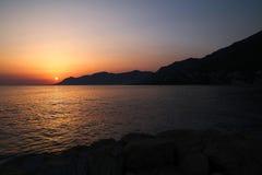 View of Biokovo mountains in Croatia. Biokovo mountains, Croatia. View of adriatic sea coast and sunset Royalty Free Stock Photos