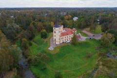 View of the Bip Castle, gloomy October day aerial photography. Pavlovsk. View of the Bip Castle on a gloomy October day aerial photography. Pavlovsk, outskirts stock images