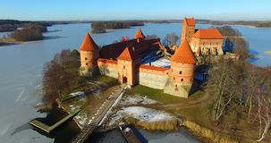 View from bird flight of Trakai old castle stock footage