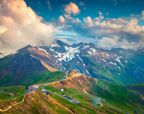 View from a bird's eye of Grossglockner High Alpine Road. Royalty Free Stock Images