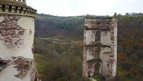 View from the bird`s eye view of the ruins of the Chervonohorod Castle. Ukraine stock footage
