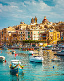 View on Birgu and the harbour with boats Royalty Free Stock Image