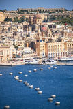 The view of Birgu peninsula from the bordering terrace of the Up Royalty Free Stock Images