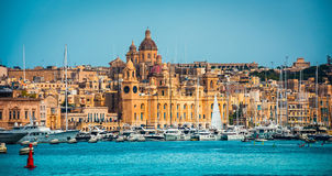 View on Birgu from the sea Stock Photos