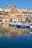 The view of Birgu (Vittoriosa) peninsula over the Dockyard creek Stock Image