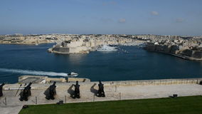 The view on Birgu and yacht marina stock footage