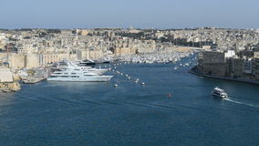 The view on Birgu and yacht marina stock video footage