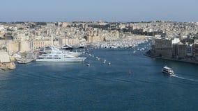 The view on Birgu and yacht marina. Birgu, Malta stock video footage