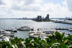 View of Biscayne Island and the Venetian Way in Miami, Florida. MIAMI, FL - View of Biscayne Island and the Venetian Way linking Miami to South Beach over the Stock Image