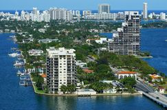 View of Biscayne Island and the Venetian Way in Miami, Florida. MIAMI, FL - View of Biscayne Island and the Venetian Way linking Miami to South Beach over the Stock Photo