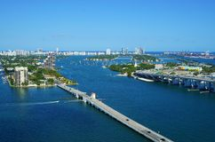 View of Biscayne Island and the Venetian Way in Miami, Florida. MIAMI, FL - View of Biscayne Island and the Venetian Way linking Miami to South Beach over the Stock Images