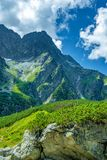 View from black lake under Rysy peak, Tatra Mountains stock images