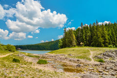 View of The Black Lake. Crno jezero in Durmitor National Park, Montenegro Stock Photos
