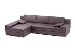 A view of a black leathered sofa Royalty Free Stock Image