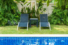 View of black long chairs Royalty Free Stock Image