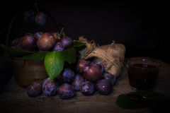 Black prunes. A view of black prunes stock images