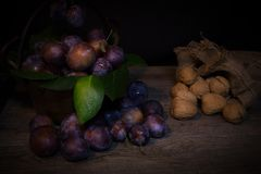 Black prunes. A view of black prunes royalty free stock photography
