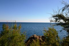 The view of the Black sea. From Alupka Park stock photography