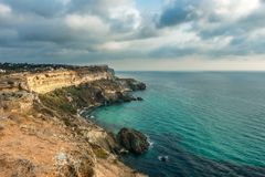 View of Black Sea from the cape Fiolent at sunset, near Sevastopol, Crimea peninsula. Picturesque sea landscape in HDR Royalty Free Stock Image