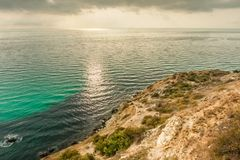 View of Black Sea from the cape Fiolent at sunset, near Sevastopol, Crimea peninsula. Picturesque sea landscape in HDR Royalty Free Stock Photos